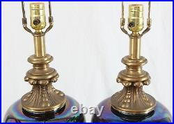 Large Mid Century Glass Urn Table Lamps Pair Vintage Marble Hollywood Regency