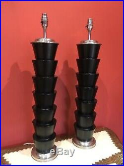 Large Pair Oka Style Contempoary Designer Table Lamps 69cm Tall