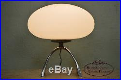 Laurel Lamp Co. MCM Pair of Mushroom Table Lamps with Arched Chrome Bases