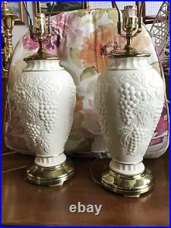Lenox porcelain table lamps by Quoizel matching pair ivory grapes grapevines