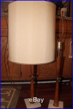 Matching Pair Of MID Century Modern Teak Brass And Marble Stiffel Lamps
