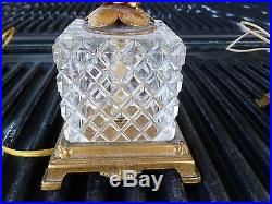 Magnificent Pair Of Italian Gilt Tole Lamps In Cut Crystal Boxes