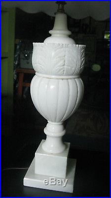 Magnificent Pair of IHand-Carved talian Alabaster Table Lamps with Shades