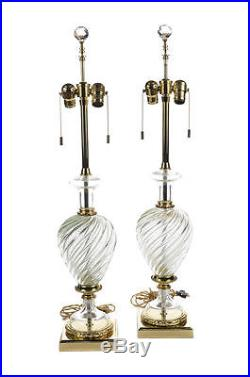 Marbro Vintage Mid Century Table Lamps withclear Twisted Glass a pair