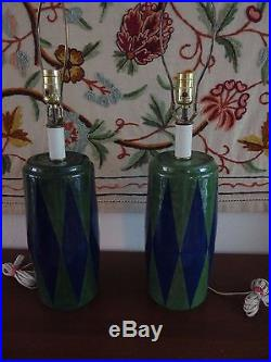 Matched Pair Vintage Mid Century Bitossi Raymor Style Ceramic Table Lamps
