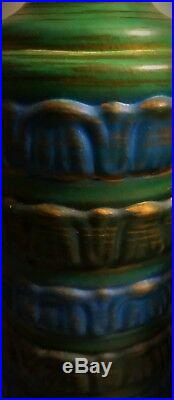 Matched Pair Vintage Retro Mid Century Art Pottery Table Lamps Blue Green Gold