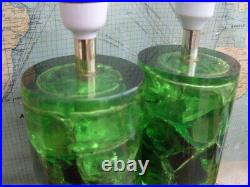 Matching Pair Vintage Retro 9 Tall Green Shatterline Bedside Table Lamps Lights