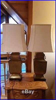 Matching Pair Vintage WILDWOOD brass lamps Chinoiserie hollywood regency