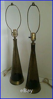 Mid Century Blown Smoke Glass & Brass Table Lamps Pair Vintage Hollywood style