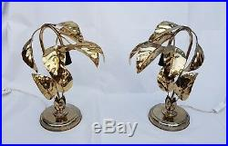 Mid Century Hollywood Regency Palm Leaf Pair Of Table Lamps