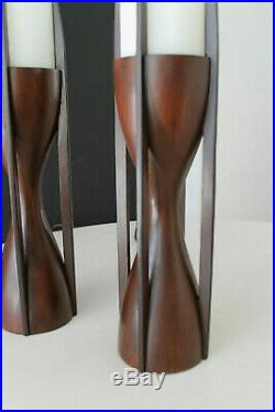 Mid Century Modeline Pair Sculptural Mahogany & Opaline Cylinder Glass Lamps