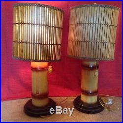 Mid Century Modern Bamboo Tropical Table Lamps Pair Tiki Style UNIQUE