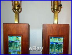Mid Century Modern Pair of HARRIS STRONG Ceramic Tile Table LAMPS