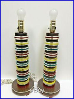 Mid Century Modern Walnut, Color Lucite Table Lamps Set Pair circa 1950's