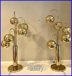 Mid Century Pair of Brass Waterfall Table Lamps by Robert Sonneman 40 Tall