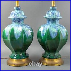 Mid Century Vintage Drip Glaze Asian Ginger Jar Ceramic Pottery Table Lamps Pair