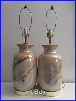 Mid-century modern sandstone reverse painted glass and brass table lamp pair