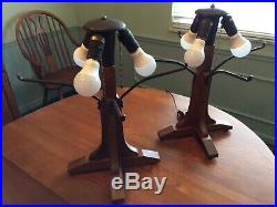 Mission Oak Bungalow Table Lamp #050 Pair from The Mica Company