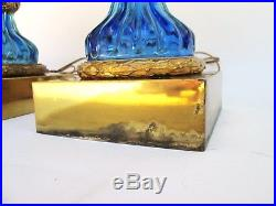 Monumental Pair of Vintage Seguso For Marbro Blue Murano Glass Table Lamps Italy