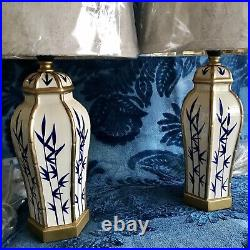 NEW Pair Cream Gold Blue Bamboo Oriental Pattern Table Bedside Lamps Lamp Bases