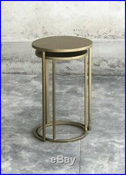 Nesting Brass Side Tables RRP £169 Stacking Pair 2 Lamp Table Metal Antique Gold