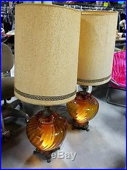 Exceptional PAIR 2 Large Vintage Amber Glass Vase Table Lamp/LAMPS RARE BEAUTIFUL