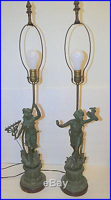 Pair Antique Country French Peasant Boy Girl Spelter