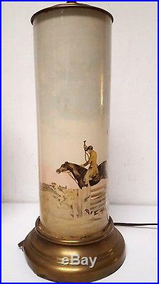 PAIR Antique IBF Co. FOX HUNT EQUESTRIAN HORSE POLO Chromolithograph TABLE LAMPS