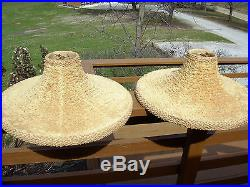 PAIR MID-CENTURY CHALKWARE CONTINENTAL ART TABLE LAMPS & SHADES signed BALLERINA