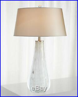 PAIR Murano Style Venetian Blown Glass Ludwig Table Lamp Set White Opal Horchow