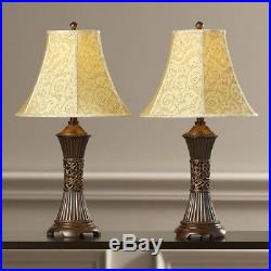 Pair Of 2 Table Lamps Shade Light Bedroom Nightstand Lamp Living Room Home Decor
