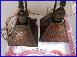 Pair Of Art Deco Bronze Metal Table Lamps With Mica Shades Original