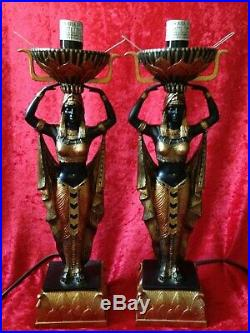 PAIR OF EGYPTIAN MAIDEN FIGURE LAMPS Art Deco Style Black & Gold Torch Globes