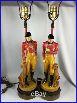 PAIR OF VINTAGE CHALK WARE FOX HUNT LAMPS With HUNTER FOXHOUND DOG EQUESTRIAN