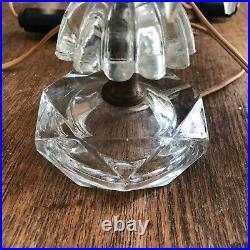 PAIR SMALL VINTAGE CUT CRYSTAL GLASS LAMPS With PRISMS switched cord