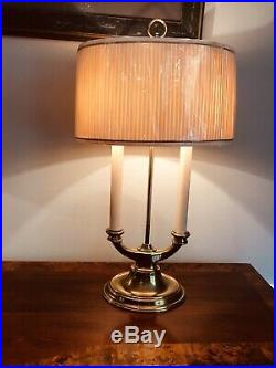 PAIR! Two-Armed STIFFEL Candlestick 2way Table Lamps withOriginal Shades FREE SHIP