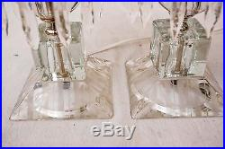 Pair Vintage Crystal Etched Glass Hurricane Boudoir Table Lamps Prisms