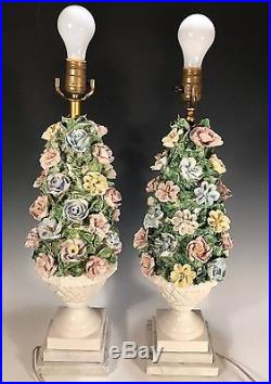 PAIR Vintage Capodimonte Porcelain Flower Table Lamps Italy Tower Carerra Marble