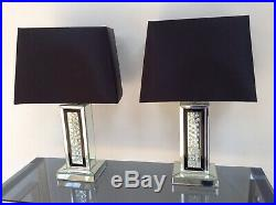 PAIR of Mercury Large Lamps 69cm Mirrored Floating Crystal Base Black Shade
