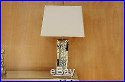 PAIR of Mercury Table Lamps 60cm Mirrored Floating Crystal Base White Shade
