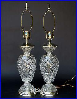 Pair Of Vintage Crystal Glass And Brass Electric Table