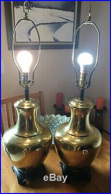 PAIR vintage Brass Table Lamps ASIAN style GINGER JAR hollywood Regency PALM Set