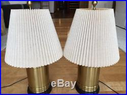 Pair $1200 Designer WILDWOOD Brass Ginger Jar Urn Table Lamps with Shades EXC