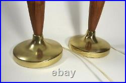 Pair 1960's MID CENTURY DANISH MODERN Table Lamps Solid WALNUT GOLD Laurel Style