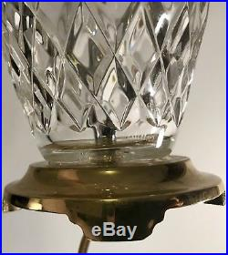 Pair (2) Waterford Araglin Crystal & Brass Table Lamps Accent Lights Vintage