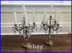 Pair Antique Brass Crystal Table Lamps Girandole Chandelier Candelabras Electric