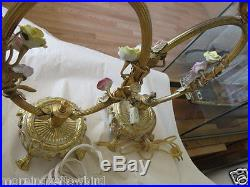 Pair Antique French Gilt Boudoir Lamps with Porcelain Flowers Nice