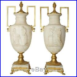 Pair Antique Neoclassical Italian Marble and Bronze Urns Table Lamps