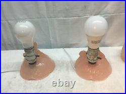 Pair Art Deco Pink Frosted Glass 9 Southern Bell Boudoir Bedroom Table Light