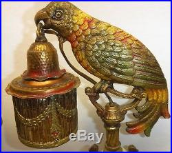 Pair Art Deco Polychrome Parrot Table Lamps Newell Posts 1930's